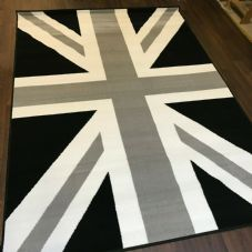 Rugs Approx 6x4ft 120x170cm Woven Backed Union Jack Black-Grey-Silver rug Mat